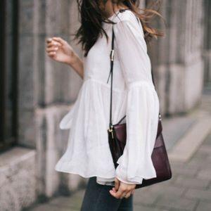 Zara Bell Sleeve White Open Back Top